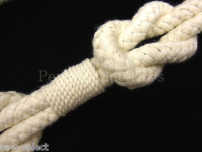 2 Shanklin Knotted Rope Curtain Tiebacks Natural Cream